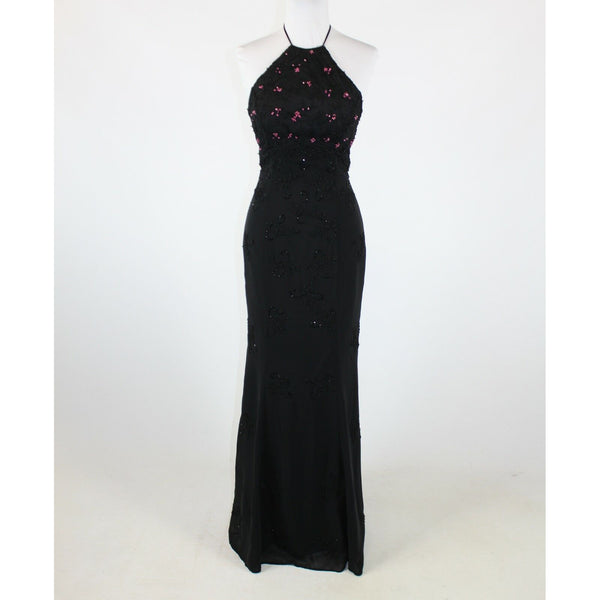 Black pink floral beaded embroidered STONE FERRIS STERLING halter ball gown 4