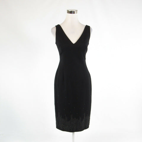 Black silver BCBG MAX AZRIA embroidered trim stretch sleeveless sheath dress 8
