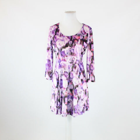 Purple white floral velour L'AMOUR NANETTE LEPORE 3/4 sleeve stretch dress L