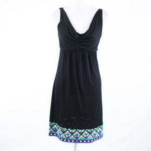 Black multicolor tribal hem 100% cotton DIANE VON FURSTENBERG empire waist dress-Newish