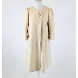 Ivory textured snap front wool blend HANII Y 3/4 sleeve coat 16 46