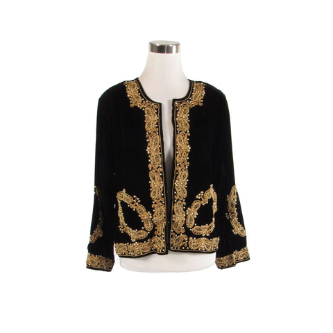 Black velvet 3/4 sleeve gold beaded vintage jacket XL-Newish