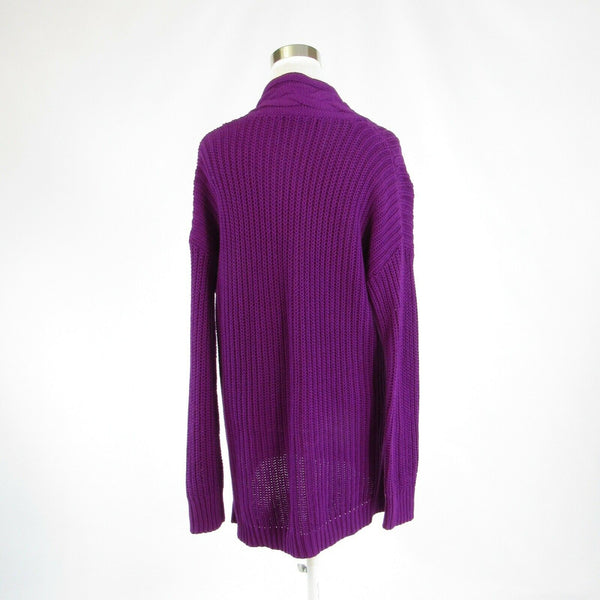 Purple 100% cotton LAUREN RALPH LAUREN 3/4 sleeve cross-over V-neck sweater M-Newish