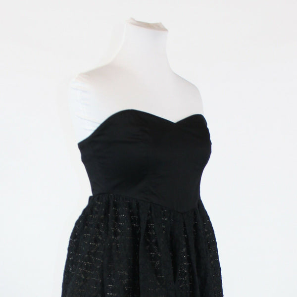 Black over beige MOULINETTE SOEURS strapless above knee empire waist dress 2