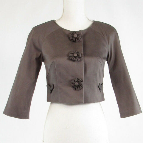 Taupe cotton blend BARASCHI stretch 3/4 sleeve bolero jacket 2