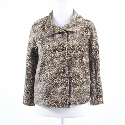 Brown cheetah print 100% cotton TALBOTS 3/4 sleeve jacket 2P-Newish