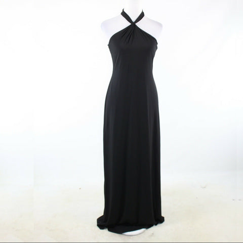 Black DAVID MEISTER stretch halter neck maxi dress 4