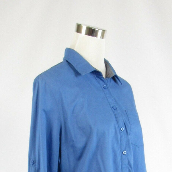 Blue 100% cotton TOMMY HILFIGER button chest long sleeve tunic blouse L-Newish