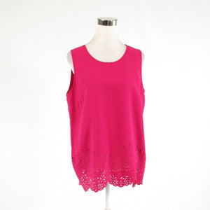 Dark pink laser cut KATHERINE BARCLAY sleeveless tank top blouse M-Newish