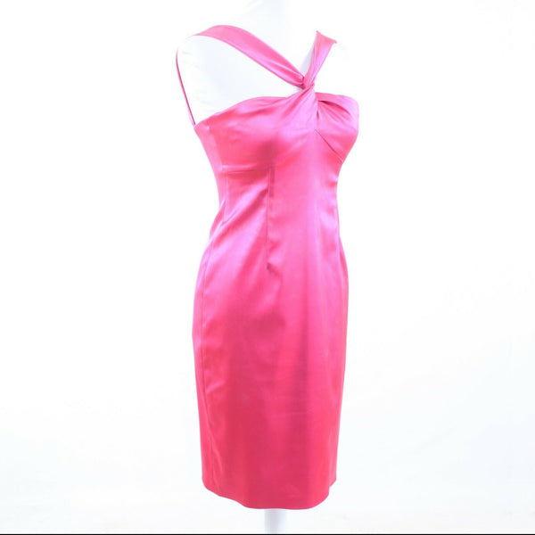 Bright pink satin DAVID MEISTER sleeveless sheath dress 2 NWT $330-Newish