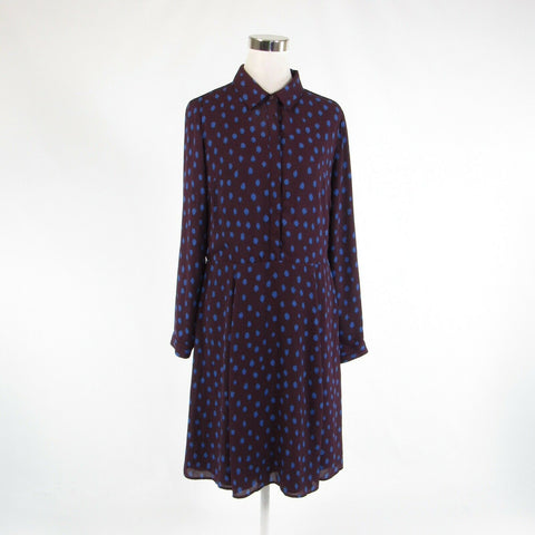Eggplant purple blue dots BANANA REPUBLIC long sleeve A-line dress 12