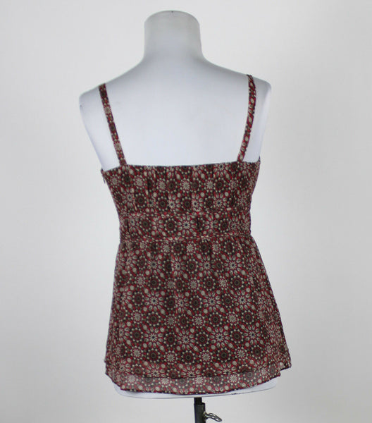ANN TAYLOR LOFT red brown gray geometric spaghetti strap empire waist blouse 4P-Newish