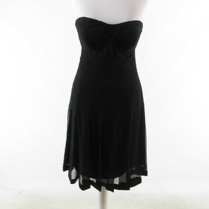 Black silk MORELL MAXIE sheer overlay strapless empire waist dress 6