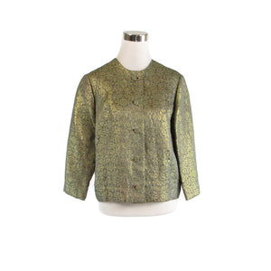 Gray gold geometric HAL LEURS 3/4 sleeve shimmery vintage jacket M