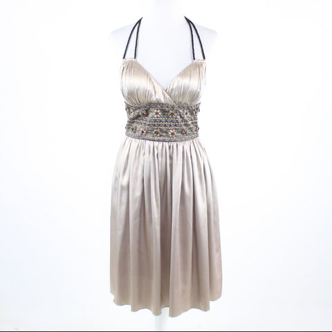 Taupe satin LYNDIA Lyndia Procanik embroidered beaded trim halter neck dress 2