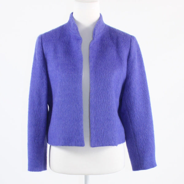 Purple fuzzy texture ELLIOTT LAUREN open front long sleeve jacket 12