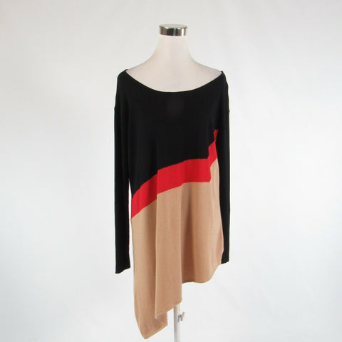 Beige black color block CATHERINE MALANDRINO long sleeve tunic sweater M