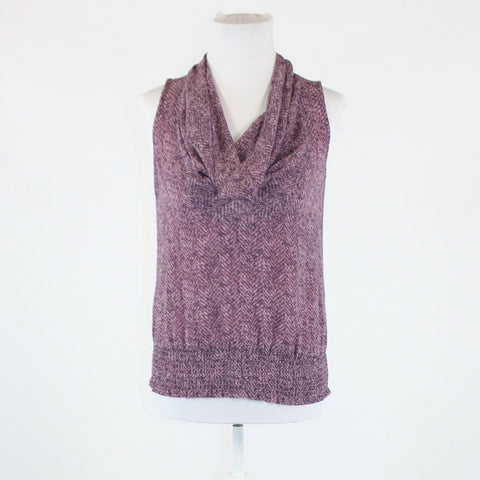 Mauve purple black snake MICHAEL KORS sleeveless draped neck blouse 0P