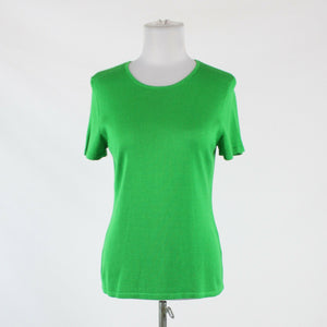 Green cotton blend PETER NYGARD short sleeve crewneck ribbed trim sweater S