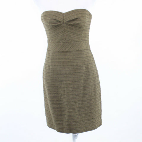 Cool brown striped tweed TRINA TURK strapless sheath dress 6-Newish