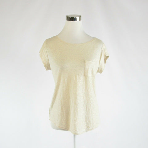 Light beige 100% linen ANN TAYLOR LOFT stretch cap sleeve blouse S-Newish