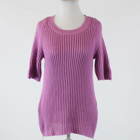 Purple 100% cotton L.L. BEAN short sleeve scoop neck ribbed sweater L