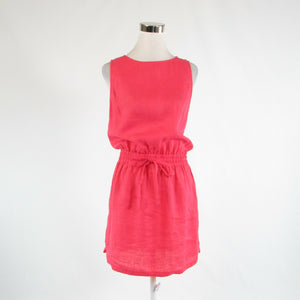 Salmon pink 100% linen SAKS FIFTH AVENUE sleeveless sheath dress S-Newish