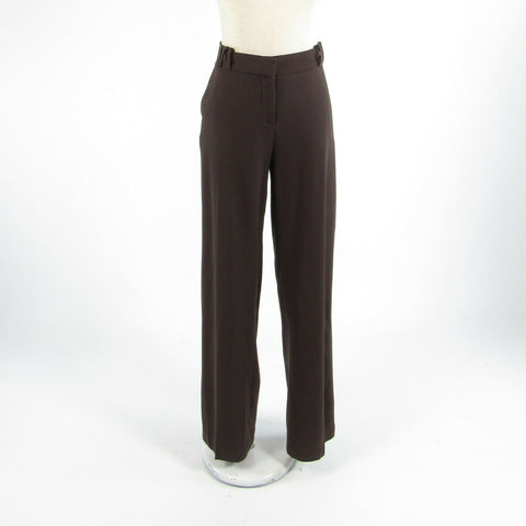 Brown wool blend SALVATORE FERRAGAMO stretch straight leg dress pants IT46 12