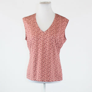 Pink red geometric stretch NEW YORK and COMPANY sleeveless V-neck blouse L