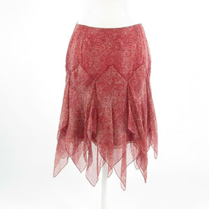 Maroon red beige abstract 100% silk BILL BLASS handkerchief skirt 4-Newish