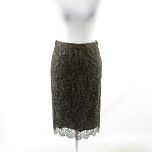 Olive green gold paisley lace BANANA REPUBLIC pencil skirt 0