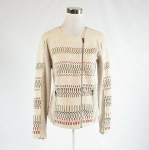 Light beige 100% cotton LUCKY BRAND zip front long sleeve sweater M