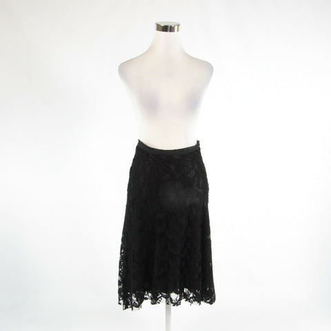 Black lace WHITE HOUSE BLACK MARKET sheer overlay hi-low skirt 0-Newish