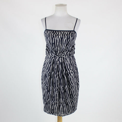 Navy blue white geometric cotton ANN TAYLOR LOFT spaghetti strap sheath dress 2