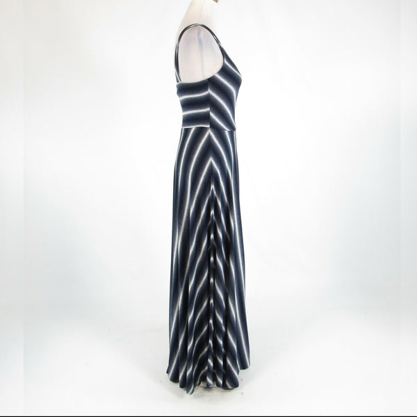 Charcoal gray blue striped PUELLA stretch sleeveless maxi dress S-Newish