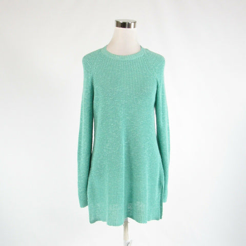 Light teal green EILEEN FISHER long sleeve crewneck crochet knit sweater PM-Newish