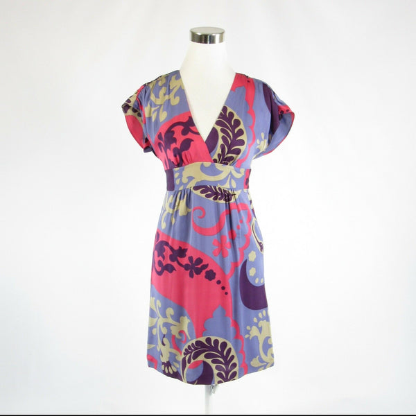 Periwinkle purple red floral print 100% silk BODEN cap sleeve A-line dress 2-Newish
