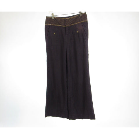 Dark brown 100% linen IDRA beaded trim wide leg pants 0