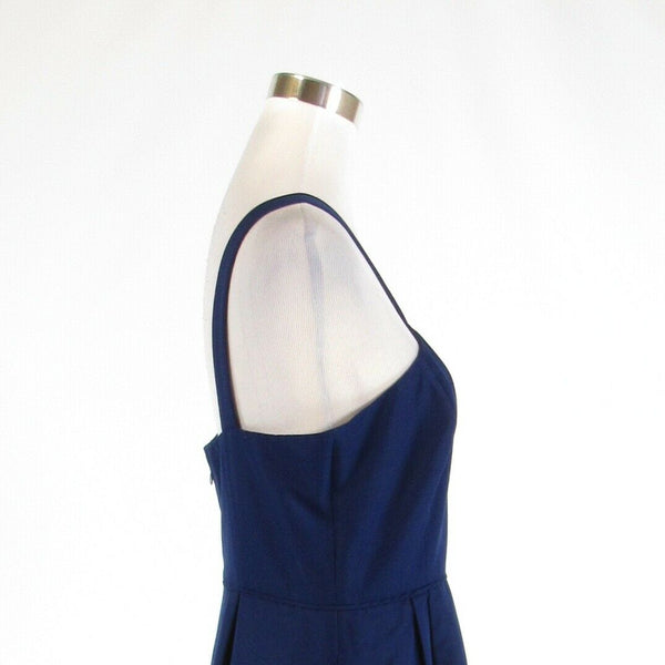 Navy blue cotton blend J. CREW sleeveless A-line dress 10-Newish