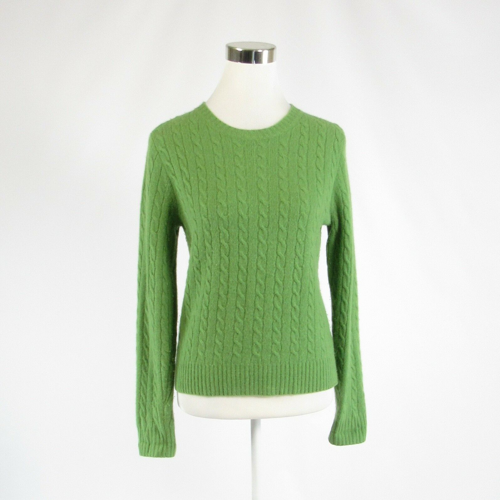 Green cotton blend J. CREW long sleeve crewneck cableknit sweater S-Newish