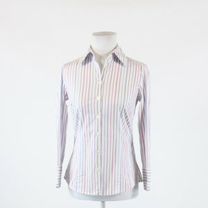 White blue striped cotton blend ANN TAYLOR LOFT 3/4 sleeve button down blouse 0
