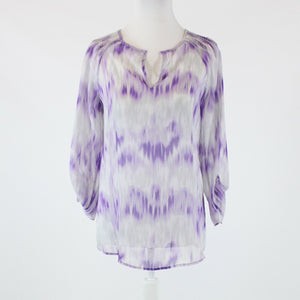 Purple white geometric semi-sheer CHICO'S 3/4 sleeve blouse 0 XS 4