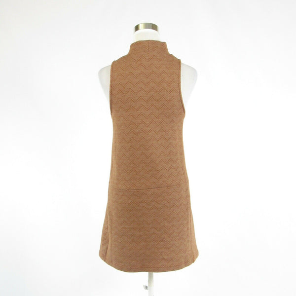 Khaki herringbone FREE PEOPLE stretch sleeveless shift dress S-Newish
