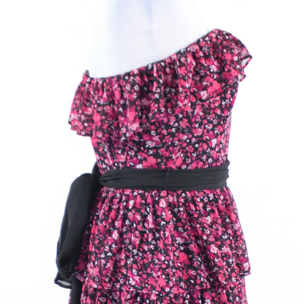 Black pink floral print WHITE HOUSE BLACK MARKET strapless tiered dress 8-Newish