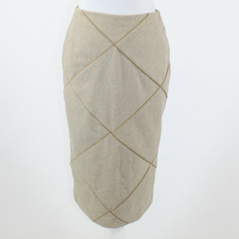 Beige geometric twill KATE SYLVESTER piping trim pencil skirt 4