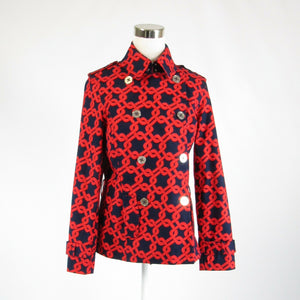 Navy blue red geometric cotton blend NAUTICA long sleeve peacoat M-Newish