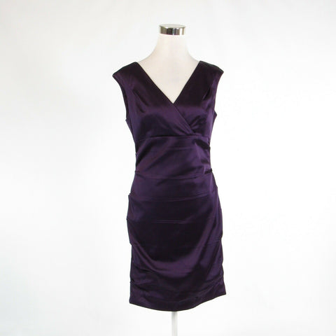 Dark purple CALVIN KLEIN stretch sleeveless bodycon dress 10-Newish