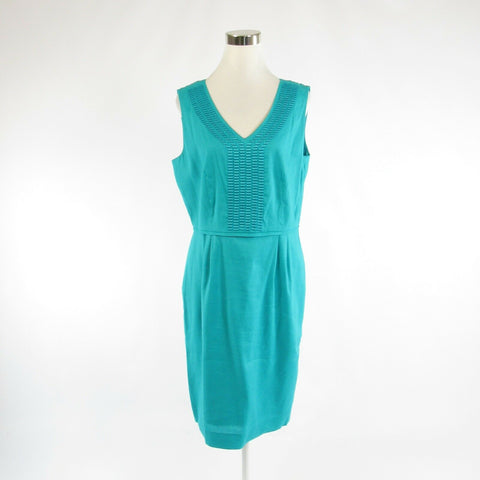 Teal green linen ALEX MARIE embroidered trim sleeveless sheath dress 12