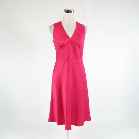 Fuchsia pink satin ANN TAYLOR sleeveless empire waist dress 4