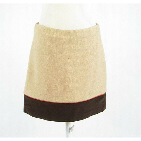 Beige brown herringbone wool blend VINEYARD VINES Shep and Ian A-line skirt 6-Newish